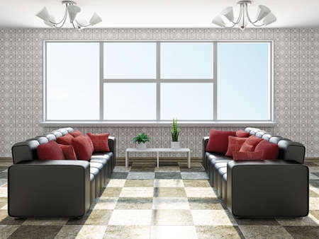 Sofas with red pillows near a window Stock Photo - 22348030