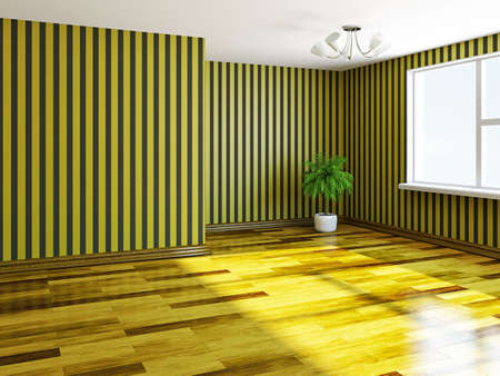 The  empty room with yellow wallpaper photo