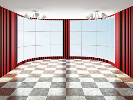 clean floor: The empty room with red wallpaper Stock Photo