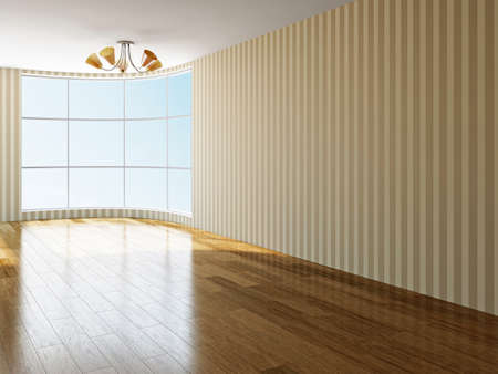 laminate: The big empty room with window Stock Photo