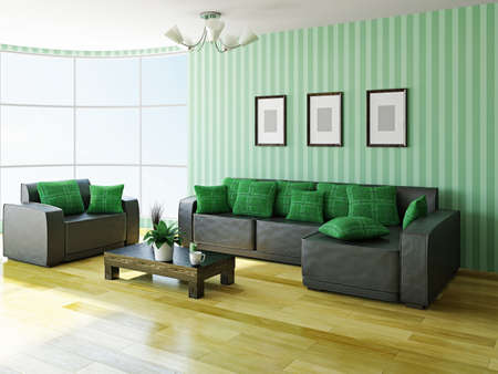 Sofa and armchair near a big window Stock Photo - 22494969
