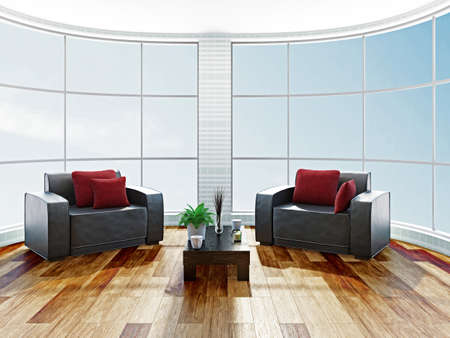 Two leather armchairs near a big window Stock Photo - 22494970