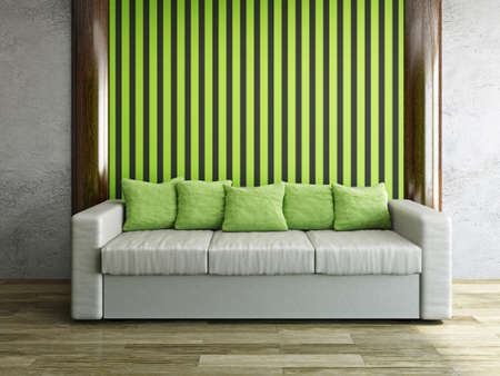 Leather sofa with green pillows near a wall Stock Photo - 22494485