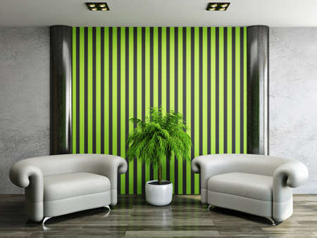 Two leather armchairs near a green wall Stock Photo - 22495000
