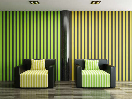 Two leather armchairs near a color wall Stock Photo - 22495001