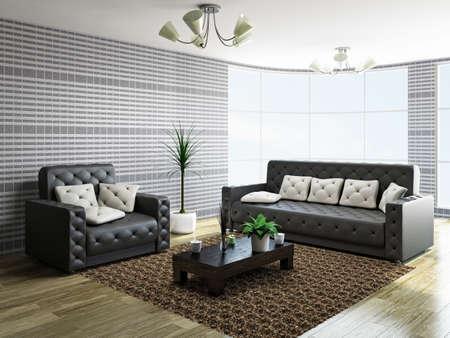 Sofa and armchair near a big window Stock Photo - 22494952