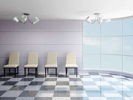 The hall with beige chairs near a wall Stock Photo - 22495003