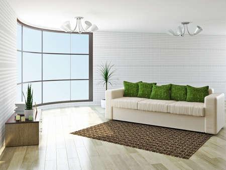 Sofa with green pillows near a wall