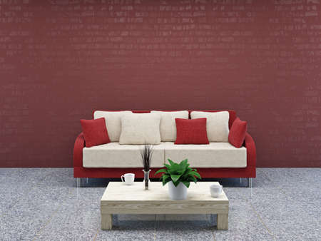 red couch: Sofa with  pillows near a wall