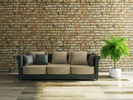 Sofa with pillows near a brick wall Stock Photo - 22948799