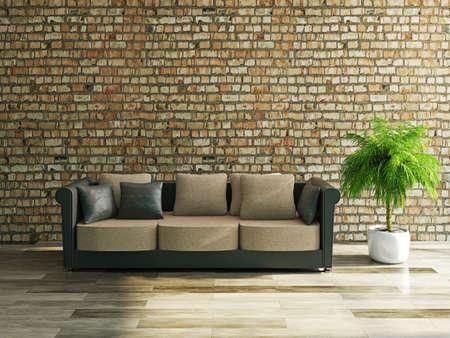 Sofa with pillows near a brick wall Stock Photo - 22948799