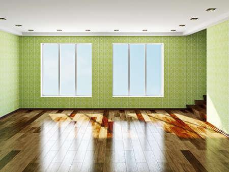 big windows: The big empty room with windows Stock Photo