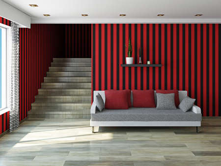 Sofa with a red pillows  near a wooden staircase photo
