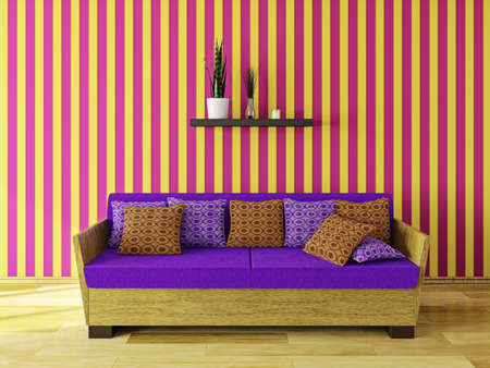 Sofa with pillows near a wall Stock Photo - 22989832