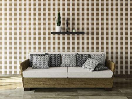 Sofa with pillows near a wall Stock Photo - 22990125