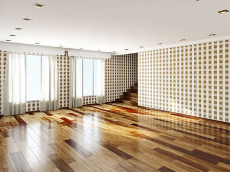 parquet floor: The big empty room with windows Stock Photo