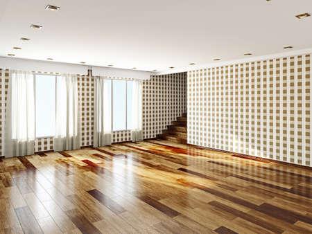 parquet: The big empty room with windows Stock Photo