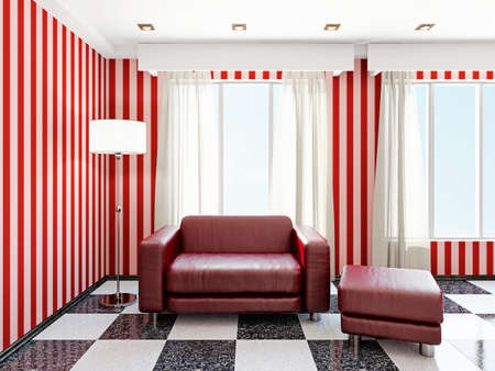 Red leather armchair near the window Stock Photo - 22990457