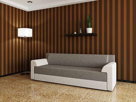 Sofa and a lamp near a wall Stock Photo - 22990459