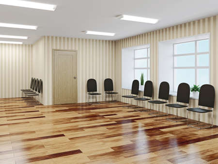 The hall with leather chairs near a wall Stock Photo - 22991070