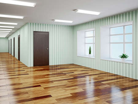 Empty hall with green wallpaper Stock Photo - 22991071