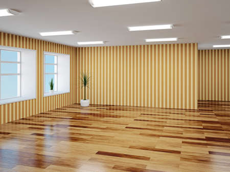 Empty hall with brown wallpaper Stock Photo - 22991320