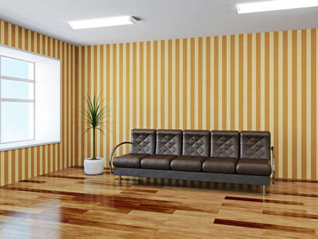 The hall with leather armchairs near a window Stock Photo - 22991322