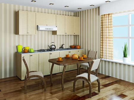 Kitchen interior with furniture and a window Stock Photo - 22991323