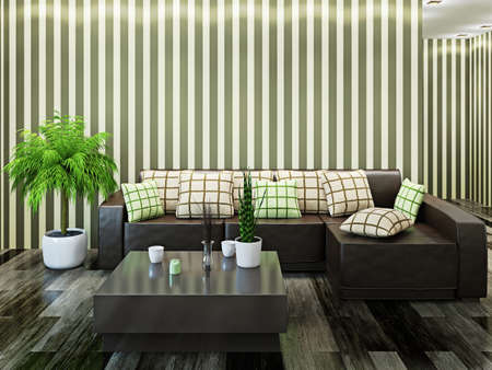 Sofa and a table near the wall Stock Photo - 22991944