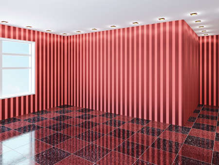 Empty hall with red wallpaper Stock Photo - 22991953