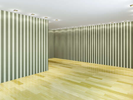 Empty hall with striped wallpaper Stock Photo - 23195327