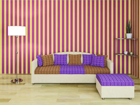 Sofa with pillows near a wall Stock Photo - 23195346