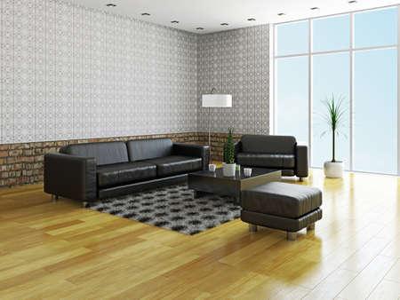 Sofa and armchair near a big window Stock Photo - 23195354