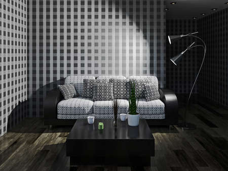 night table: Sofa with pillows near a wall Stock Photo