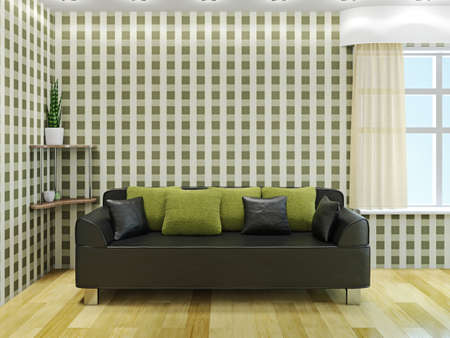 Sofa with green pillows near the window Stock Photo - 23196276