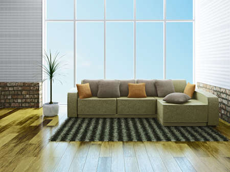 Leather sofa with pillows near a window Stock Photo - 23196278