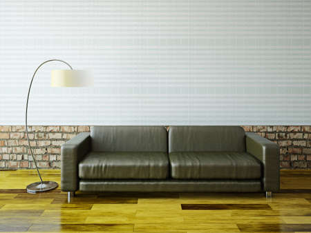 Sofa and lamp near a brick wall photo
