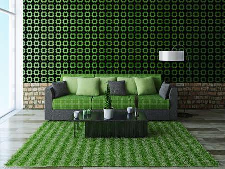 Sofa with green pillows near a brick wall