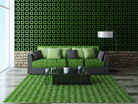 Sofa with green pillows near a brick wall