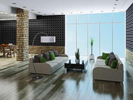 벽돌 열이있는 대형 거실