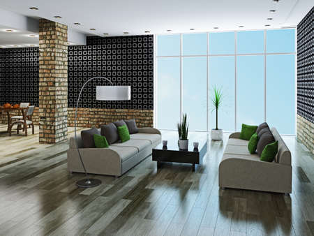 Large livingroom with brick column