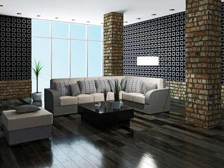 Large livingroom with brick column Stock Photo - 23198200