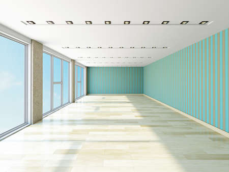 Empty hall with striped wallpaper Stock Photo - 23198750