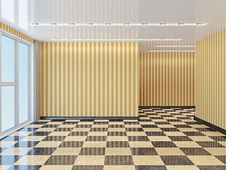 hospital corridor: The big empty room with window Stock Photo
