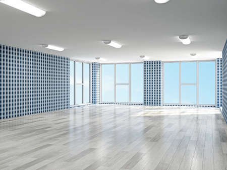 medical building: Empty hall with blue wallpaper