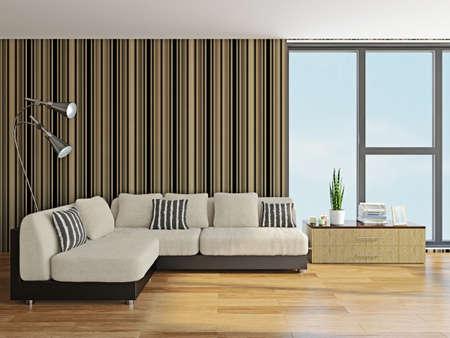 Sofa with pillows near the window