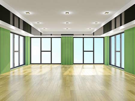 がらんとしたホールに緑色の壁紙...