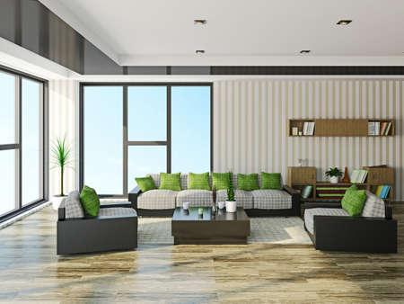 거실에있는 소파와 안락 의자