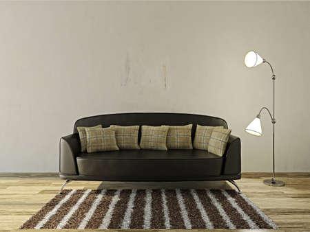 콘크리트 벽 근처 가죽 소파와 램프