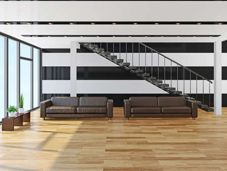 Leather sofas  in a large hall photo